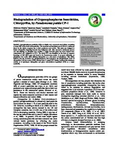 Biodegradation of Organophosphorus Insecticides, Chlorpyrifos, by ...