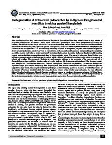 Biodegradation of Petroleum Hydrocarbon by indigenous Fungi ... - ISCA