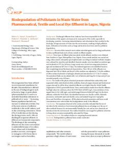 Biodegradation of Pollutants in Waste Water from Pharmaceutical ...