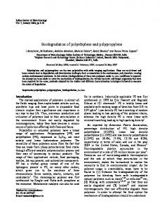 Biodegradation of polyethylene and polypropylene - NOPR