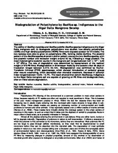 Biodegradation of Polyethylene by Bacillus sp. Indigenous to the Niger ...