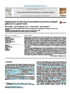 Biodegradation of textile dyes by immobilized laccase ...