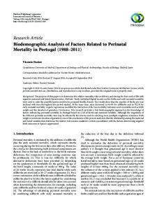 Biodemographic Analysis of Factors Related to Perinatal Mortality in ...