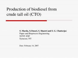 Biodiesel production from crude tall oil