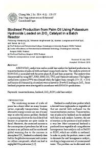 Biodiesel Production from Palm Oil Using Potassium ...