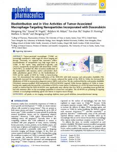 Biodistribution and in Vivo Activities of Tumor ... - ACS Publications