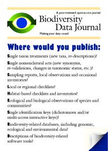 Biodiversity Data Journal