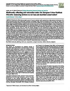 Biodiversity offsetting and restoration under the European Union ...