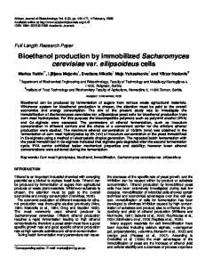 Bioethanol production by immobilized ... - Academic Journals