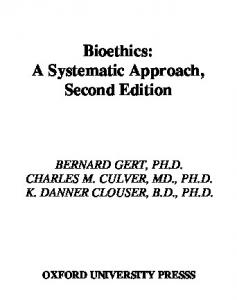 Bioethics a systematic approach