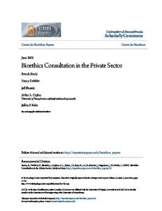Bioethics Consultation in the Private Sector - ScholarlyCommons