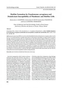 Biofilm Formation by Pseudomonas aeruginosa and Disinfectant ...
