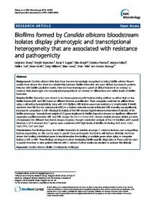 Biofilms formed by Candida albicans bloodstream ... - BMC Microbiology