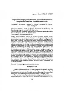 Biogas and hydrogen production from glycerol by Enterobacter