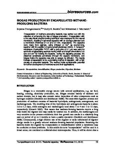 BIOGAS PRODUCTION BY ENCAPSULATED METHANE ...