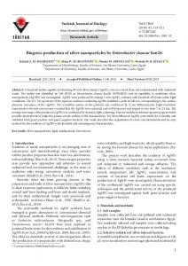 Biogenic production of silver nanoparticles by