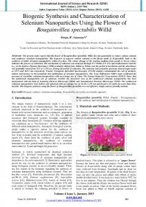 Biogenic Synthesis and Characterization of Selenium Nanoparticles ...