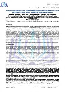 Biogenic synthesis of Iron oxide nanoparticles via ...