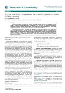 Biogenic Synthesis of Nanoparticles and Potential ... - Semantic Scholar