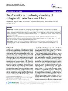 Bioinformatics in crosslinking chemistry of collagen ... - BioMedSearch