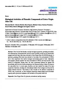 Biological Activities of Phenolic Compounds of Extra Virgin Olive Oil