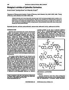 Biological Activities of Quinoline Derivatives