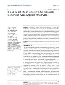 Biological activity of lactoferrin-functionalized biomimetic ... - CiteSeerX