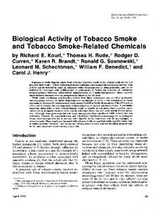 Biological Activity of Tobacco Smoke and Tobacco Smoke-Related ...