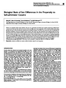 Biological Basis of Sex Differences in the Propensity to ... - CiteSeerX