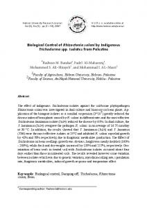 Biological Control of Rhizoctonia solani by ... - An-Najah Staff