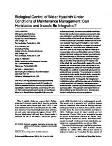 Biological Control of Water Hyacinth Under Conditions ... - Springer Link