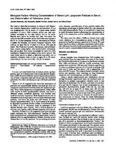 Biological Factors Affecting Concentrations of ... - Clinical Chemistry