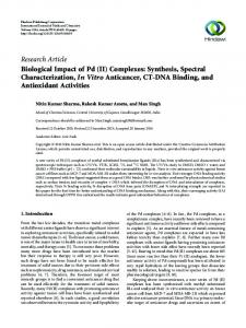 Biological Impact of Pd (II) Complexes: Synthesis, Spectral ...