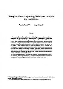 Biological Network Querying Techniques: Analysis ... - Semantic Scholar