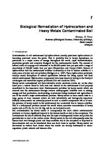 Biological Remediation of Hydrocarbon and Heavy Metals ... - InTech