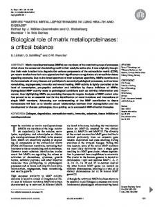 Biological role of matrix metalloproteinases - European Respiratory ...