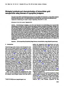 Biological synthesis and characterization of intracellular gold ...