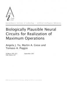 Biologically Plausible Neural Circuits for ... - Semantic Scholar