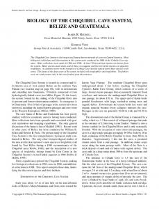 Biology of the Chiquibul Cave System, Belize and Guatemala