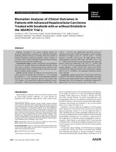 Biomarker Analyses of Clinical Outcomes in Patients with Advanced ...