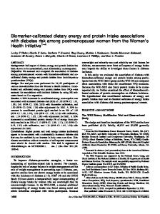 Biomarker-calibrated dietary energy and protein intake associations ...