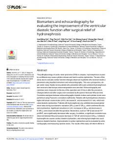 Biomarkers and echocardiography for evaluating ... - Semantic Scholar