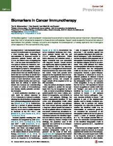 Biomarkers in Cancer Immunotherapy