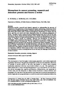 Biomarkers in cancer screening, research and detection: present and ...
