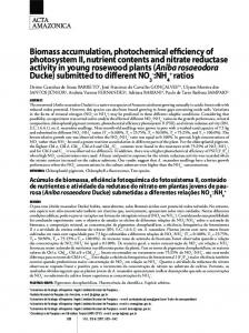 Biomass accumulation, photochemical efficiency of ... - SciELO