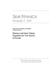 Biomass and stem volume equations for tree species in Europe