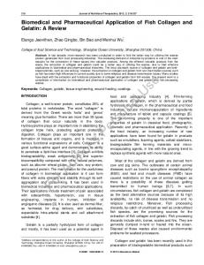 Biomedical and Pharmaceutical Application of Fish ...
