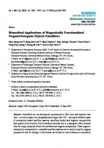 Biomedical Applications of Magnetically Functionalized ... - MDPI
