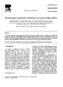 Biomembrane wastewater treatment by activated sludge method