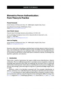 Biometrics Person Authentication: From Theory to